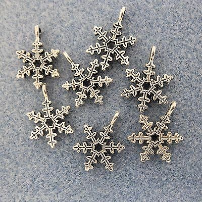 Antique Silver Alloy Metal Snowflake Charms 14 Pieces 14.7mm  #0156