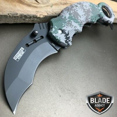 """7.5"""" Military CAMO KARAMBIT Tactical Claw Spring Assisted Pocket OPEN Knife EDC"""