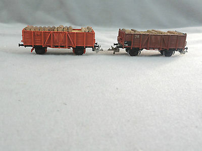 Zeuke TT HO Scale Lot (2) DR Gondola Open Car Wagon with Lumber Log Load