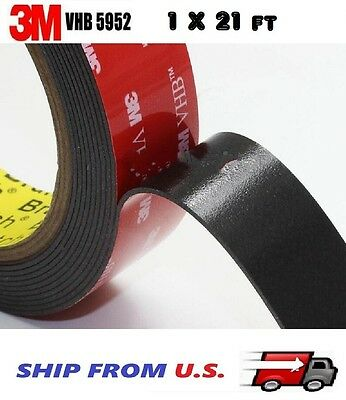 "3M 1"" x 21 ft  VHB Double Sided Foam Adhesive Tape 5952 Automotive Mounting 24mm"
