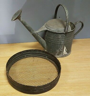 Vintage Apex Galvanised 1 1/2 Gallon Watering Can w Rose & Soil Sieve Riddle