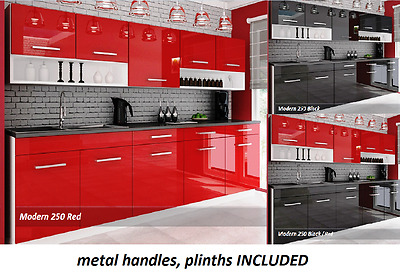 Cheap kitchen cabinets High Gloss . Complete set MODERN 250 cm,7 units brand new