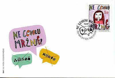 Croatia 2016 FDC Say No To Hate Speech 1v Set Cover Stamps