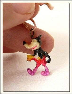 ANTIQUE 1930's MICKEY MOUSE DISNEY CELLULOID PENDANT CHARM ! VISIT MY STORE !