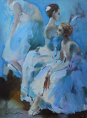 "Original acrylic/oil painting   Ballerinas between scenes  20""x16"" signed Dima K"