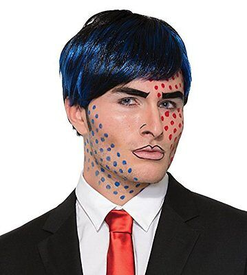 Men's Pop Art Bobby Boom Short Black Blue Wig Cartoon Style Costume Accessory