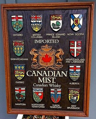 RARE 1960s Large Frame Imported Canadian Mist Whiskey Memorabilia Hangin Barware