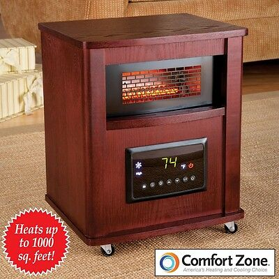 Digital Thermostat Infrared Heater Rolling Wood Cabinet Energy Saving Eco-Mode