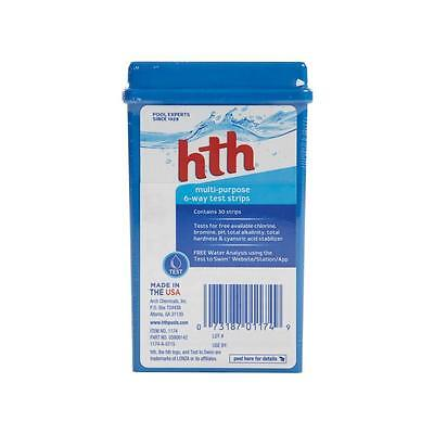 HTH 1174 Multi-Purpose 6-Way Test Strips 30CT, Pool Chemical Tester Strip Kit