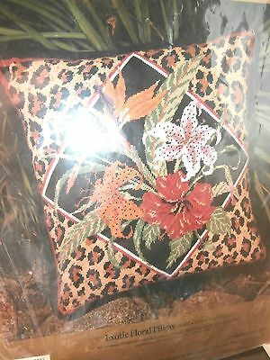 Vtg Something Special needlepoint kit Exotic Floral Pillow 14 by 14 NEW