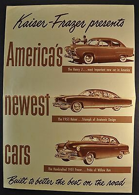 1951 Kaiser Frazer Henry J Sales Brochure Folder Excellent Original 51