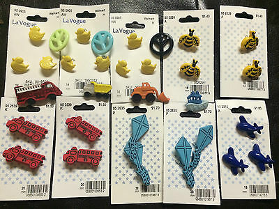 Lot of 31 Buttons Airplane Fire Engine Bees Ducks Kites Dump Truck Tug Boat ETC