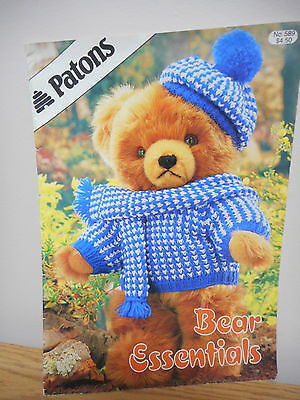 Patons Bear Essentials Knitting Pattern Book #589  In 3 Sizes