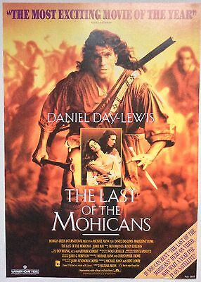 The Last Of The Mohicans / Original Vintage Video Film Poster Daniel Day Lewis 2