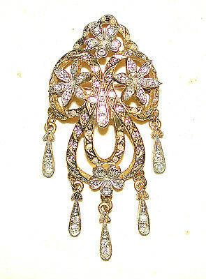 Vintage Romantic Arabesque Floral Crystal Seed Pearl Brooch Signed Sphinx Pin