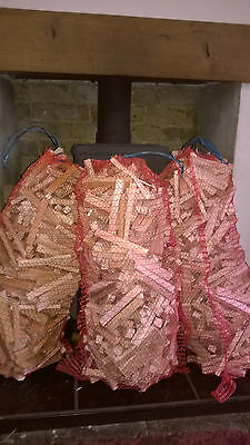 Three Large Nets Of Kindling Wood For Woodburner Fire