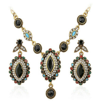 Antique gold plated Hurrem style black resin & mix rhinestone necklace earrings!