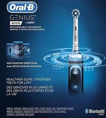 Oral-B Genius 8000 Rechargeable Electric Toothbrush with Bluetooth (Black)