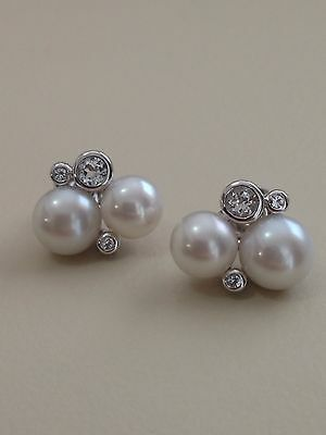 Honora Freshwater Cultured Pearl White Topaz Cluster Earrings In Sterling Silver