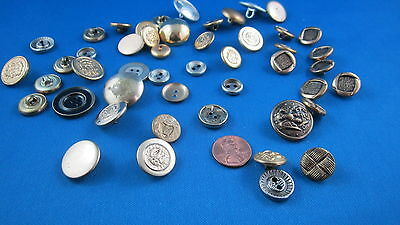 Lot Of 45 Vintage Metal   Buttons Boutons Metaliques