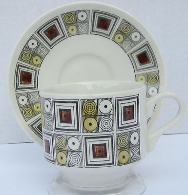 Vintage Kathie Winkle Cup And Saucer Rushstone Pattern Broadhurst China