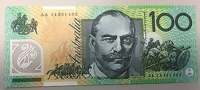 2014 $100 AA First Prefix - UNC Perfectly Crisp Banknotes - Scarce - Australian