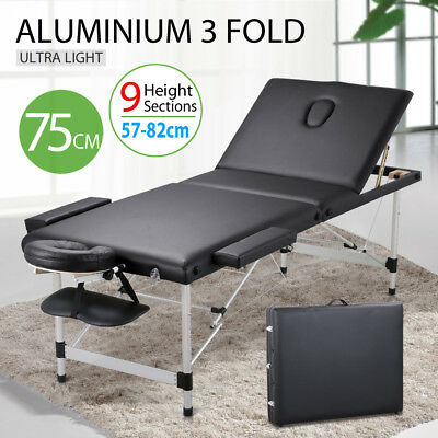 75cm Portable Aluminium Massage Table 3 Fold Bed Treatment Waxing Beauty Therapy