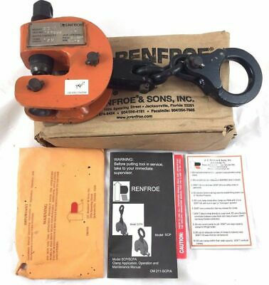 Renfroe SCPA 1/2 Ton Locking-Screw Lifting Plate Dog Clamp 0-19mm 3/4 inch 500kg