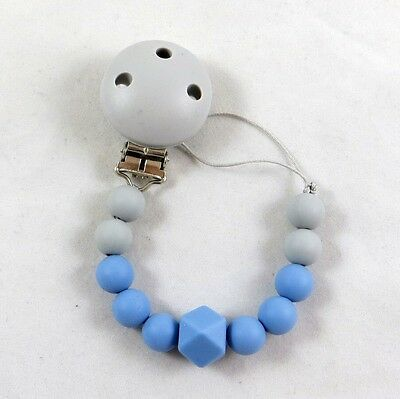 Silicone Teething Pacifier Clip Teether Boy Blue Teddy Bear Chew / personalized