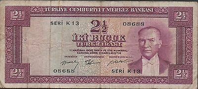 Turkey 2 1/2  Lira  3.1.1955 P 151a Series K 13 Circulated Banknote