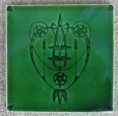 "Original & rare  English  Art Nouveau tile  c1905/7 6""x6""Tile 921"