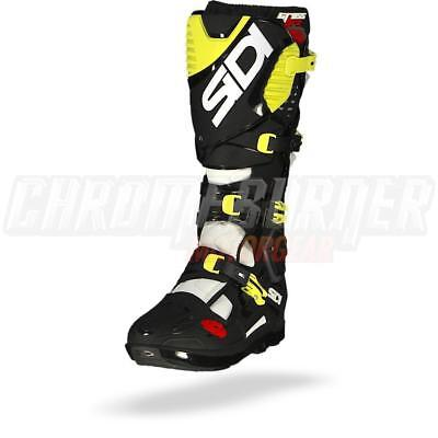 SIDI Crossfire 3 SRS Motorcycle Boots White Black Yellow Fluo, NEW
