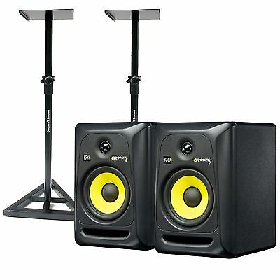 KRK Systems RP6 Rokit 6 G3 Studio Monitor Package With Monitor Stands Recording