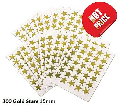 350 GOLD STARS SCHOOL TEACHER OFFICE MERIT REWARD STICKERS SELF ADHESIVE 15mm