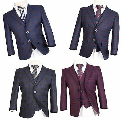 Boys Wool Mix Checkered Suits Boy Pageboy Wedding Prom Suit