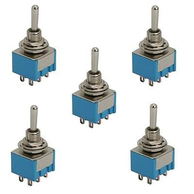 09028 5x DPDT Miniature Toggle Switch 3 Position 6 PIN (ON-OFF-ON) 3A 250V