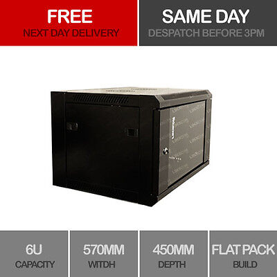 "6U 19"" Network Cabinet Rack Wall Mounted 570*450mm Black Data Comms Patch Panel"