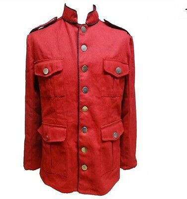 "SDL Steampunk Men's Military Style Red Jacket Wth Black Piping Chest Size 44""Inc"