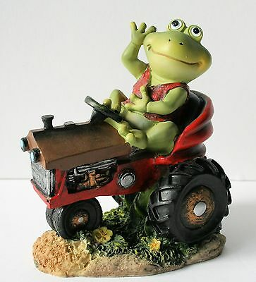 FROG ON TRACTOR Figurine Resin Garden Yard Home Decor RED VEST NEW IN BOX