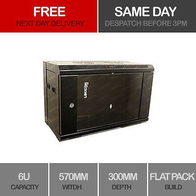 """6U 19"""" Network Cabinet Rack Wall Mounted 570*300mm Black Data Comms Patch Panel"""