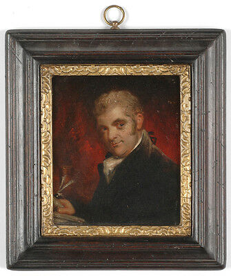 """Male Portrait"", English School, large oil on metal miniature, late 18th century"