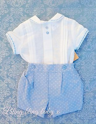 Baby Boys Spanish Traditional Romper Shirt Shorts Outfit Set Romany 12-18 Months