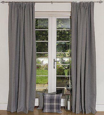 Charcoal Grey Herringbone Wool Curtains, Lining & Size Choices, Tailored Drapes