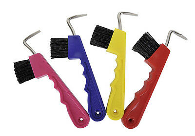 HKM Hoof Scraper With Brush Assorted Colours - Hoof Pick Horse/Pony