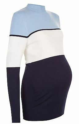New Look Blue White Navy Block Striped Long Sleeve Maternity Jumper Top