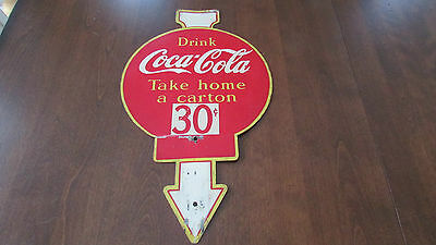 Vintage Rare Coca Cola Metal Sign Display Rack Topper 2 Sided - English & French