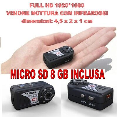 Mini Dv Md80 Full HD 1920 1080 Night Vision Micro Camera Spy 12 Mpixel + SD 8 GB