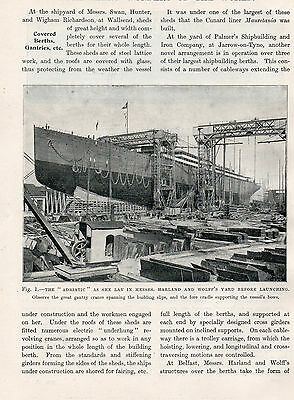 Ship Yard The Adriatic Harland And Wolff   Original Antique Print  1909