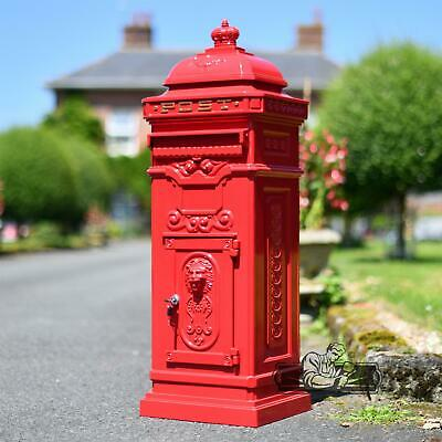 New 1.02m Red Metal Heavy Duty Secure Lockable Free Standing Post Box Mail Box