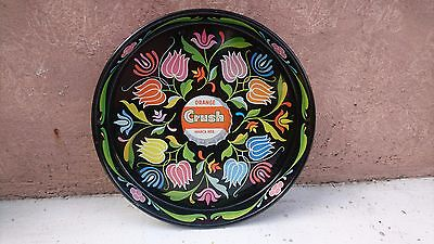 "VINTAGE 1960's MEXICAN TIN TRAY ORANGE CRUSH SODA 13"" BEAUTIFUL FLOWERS DESIGN"